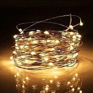 Fio de LED Arame com 10 Pontos de Luz Para Decoração