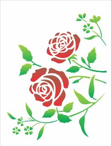 Stencil 32×42 Simples – Flores Roseira – OPA 1422