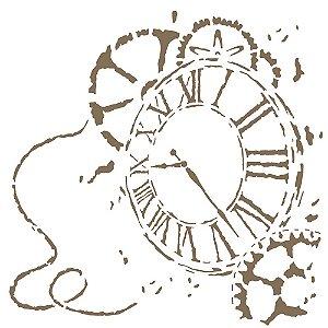 Stencil Simples 30,5 x 30,5 Relógio 3 - Opa 2302