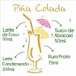 Stencil Simples 30,5 x 30,5 Drink Piña Colada - Opa 2197