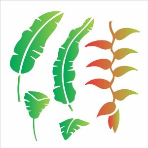 Stencil Simples 30,5 x 30,5 Flor Heliconia  - Opa 2095