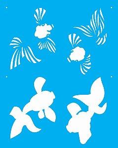 Stencil 20X25 Simples Peixes 2 - Opa 2078