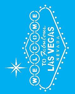 Stencil 20X25 Simples Welcome Las Vegas - Opa 2084