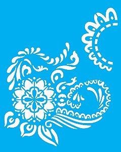Stencil 20X25 Simples Flor Arabesco - Opa 2274