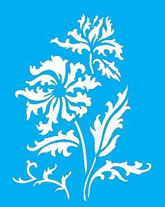 Stencil 20X25 Simples Flores e Folhas - Opa 2277