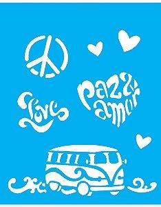 Stencil 20X25 Simples Paz e Amor - Opa 1275
