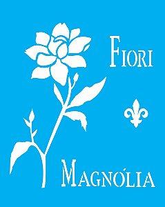 Stencil 20X25 Simples Flor Magnólia  - Opa 1446