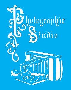 Stencil 20X25 Simples Camera Antiga  - Opa 1764