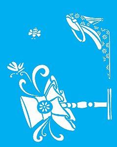 Stencil 20X25 Simples Sapato e Chapeu - Opa 1415