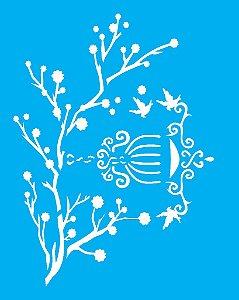 Stencil 20X25 Simples Galhos e Pássaros - Opa 1411