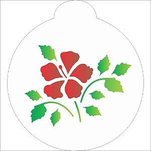 Stencil 10X10 Redondo Flor Hibisco - Opa 856