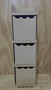 Organizador De Brinquedos Liso Com 3 Gavetas Em MDF