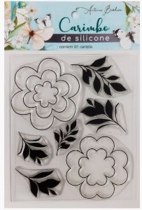 Carimbo De Silicone Flores  - 90 X 115 mm - Scrap By Antonio