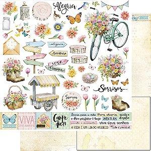 Papel Para Scrapbook Dupla Face 30,5 Cm X 30,5 Cm - Coleção Encanto de Primavera - SD-1164