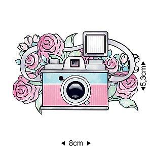 APM8-922 Aplique Em Papel E MDF - CÂMERA FOTOGRÁFICA FLORES