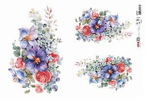 Papel Decoupage OPAPEL 3081 - Flor Azul I