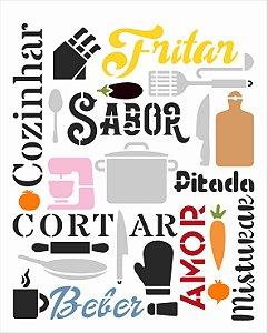 Stencil 20x25 Culinaria Estamparia Cozinha - OPA 3055