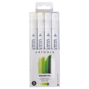Marcador Ponta Dupla Pictom Artools - 4 Tons Verdes Cítricos