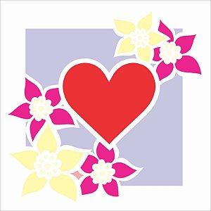 Stencil 14x14 Moldura Flor e Coração - OPA 2437