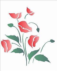 Stencil 20x25 Flores Papoulas - OPA 1047