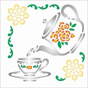 Stencil 10X10 Cantoneiras Chá - OPA082