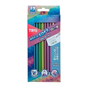 Lápis de Cor 12 Cores Metálicas Mega Soft TRIS
