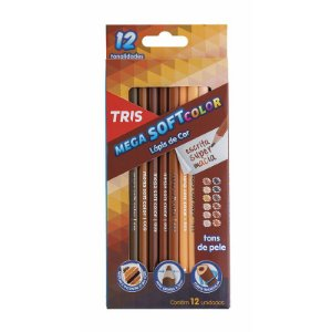 Lápis de Cor 12 Cores Tons de Pele Mega Soft TRIS