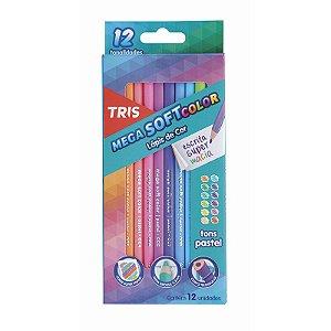 Lápis de Cor 12 Cores Tons Pastel Mega Soft TRIS