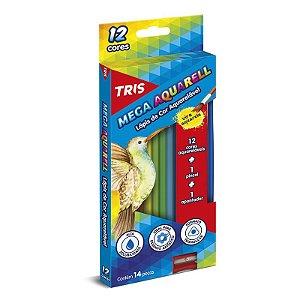 Lápis de Cor TRIS Aquarelável 12 Lápis + Apontador + Pincel