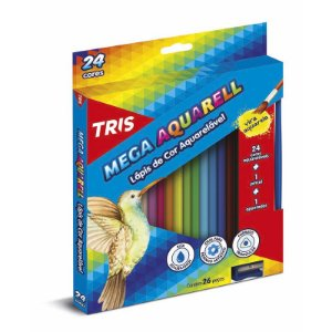 Lápis de Cor TRIS Aquarelável 24 Lápis + Apontador + Pincel