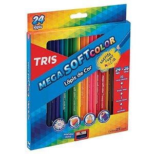 Lápis de Cor TRIS MegaSoft 24 Lápis (26 cores) + Apontador