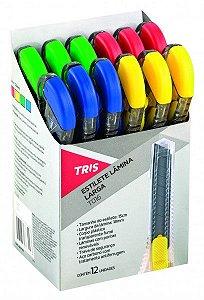 Estilete Plástico TRIS T016 Lâmina Larga - Kit Com 12 Unidad