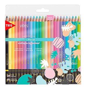 Lápis de Cor 24 Cores Tons Pastel Vibes TRIS + 1 Lápis 6B