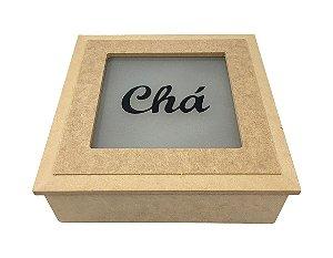 Caixa MDF Chá Jateada 4 Divisórias Articulada 20x20 cm