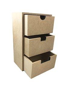 Organizador MDF  3 Gavetas em Pé 16x10x26 cm