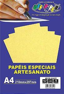 Papel Metalizado Ouro 150g Com 15 Folhas Off Paper
