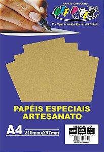 Papel Metalizado Ouro Velho 150g Com 15 Folhas Off Paper