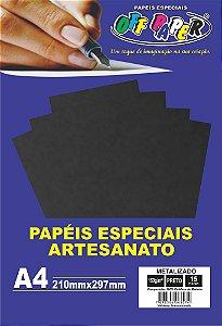 Papel Metalizado Preto 150g Com 15 Folhas Off Paper
