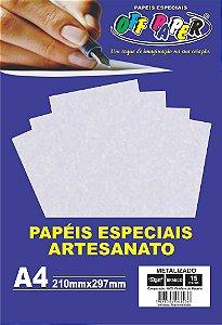 Papel Metalizado Branco 150g Com 15 Folhas Off Paper