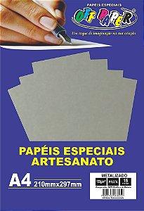 Papel Metalizado Prata 150g Com 15 Folhas Off Paper