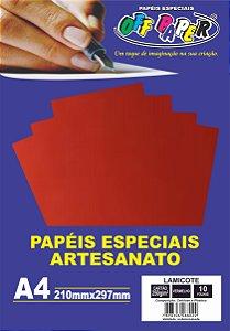 Papel Laminado Lamicote Vermelho 250g 10 Folhas Off Paper