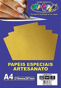 Papel Laminado Lamicote Ouro 250g Com 10 Folhas Off Paper