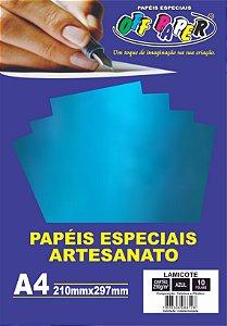 Papel Laminado Lamicote Azul 250g Com 10 Folhas Off Paper