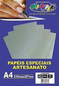 Papel Laminado Lamicote Prata 250g Com 10 Folhas Off Paper