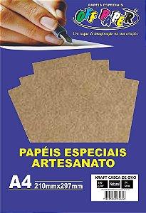 Papel Kraft Casca de Ovo Off Paper 180g/m² Com 50 Folhas A4