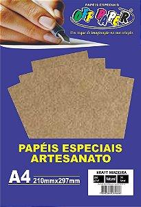 Papel Kraft Madeira Off Paper 180g/m² Com 50 Folhas A4