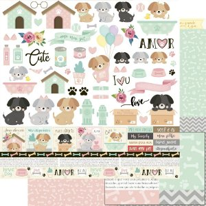Papel Para Scrapbook Dupla Face 30,5 Cm X 30,5 Cm - AMO MEU PET - DOG - SD-1170