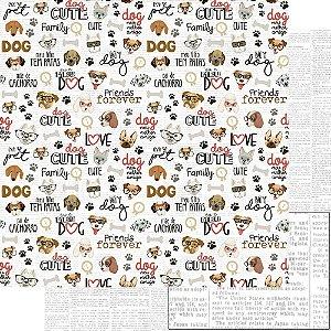Papel Para Scrapbook Dupla Face 30,5 Cm X 30,5 Cm - AMO MEU PET - DOG - SD-1174