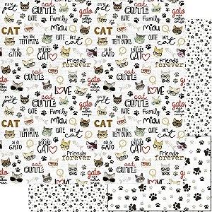 Papel Para Scrapbook Dupla Face 30,5 Cm X 30,5 Cm - AMO MEU PET - CAT - SD-1175