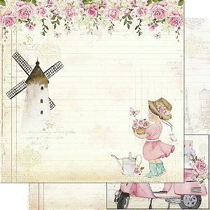 Papel Para Scrapbook 30,5 Cm X 30,5 Cm - Coleção Mon Monde Rose Daia Casagrande - SD-1176